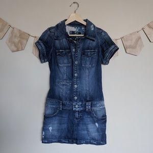 Vintage Guess Jeans Denim Shirt Dress Distressed